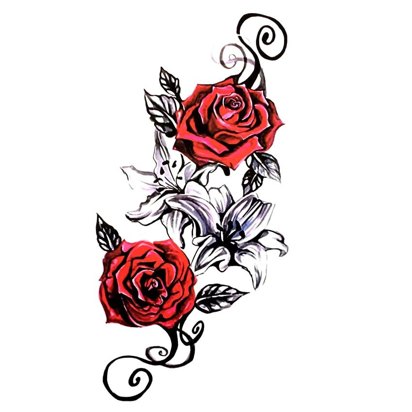 Пион Водонепроницаемый Временные татуировки Стикеры тату хной Наклейки Лили Временные татуировки Harajuku Татуировки Средства ухода за кожей ...
