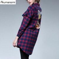Autumn Winter Plaid Shirt Turn Down Collar Ruffles Long Women Clothes Tops Spring Blouse Plus Size
