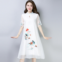 2018 White Blue Pink Embroidered Flower Short Sleeve Chiffon Dress Casual Summer Women Large Size Loose Clothes