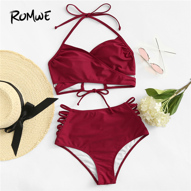 16808cbaa78cc Romwe Sport Burgundy Plus Size Crisscross Ladder Halter Cut Out Two-Pieces  Swimsuits 2018 Summer BKnot Solid Sexy Beach Swimwear