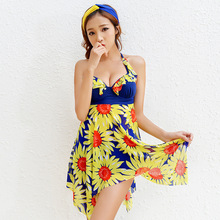 2017 Plus Size Boxers Floral Dress Push Up Monokini Two piece Suit Tankinis Set Swimsuit Bathing Suit For Women Girl Swimwear