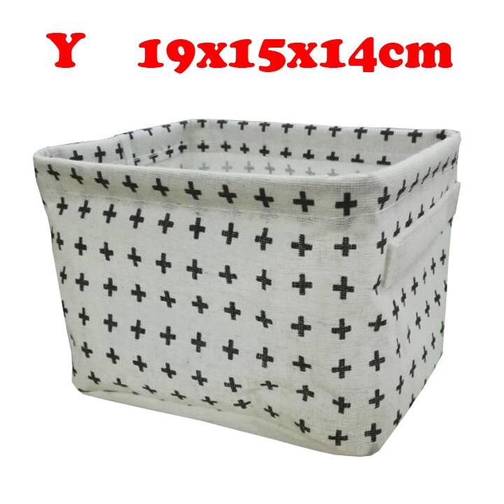 Настольный ящик для хранения с милым принтом, водонепроницаемый органайзер, хлопок, лен, корзина для хранения мелочей, шкаф, нижнее белье, сумка для хранения - Цвет: Y