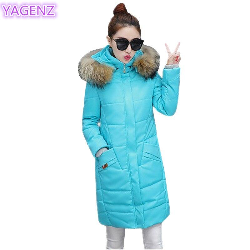 YAGENZ Winter Women Cotton Clothing Tops Fashion Large Size Long Sleeve Women Clothing M-5XL Long Section Hooded Cotton Coat 356