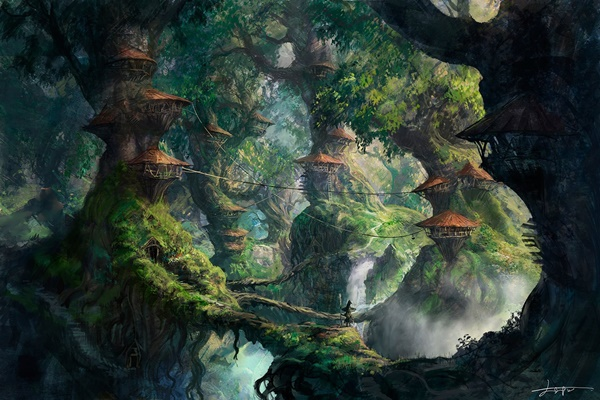 fantasy art wizard forest trees artwork digital art home decoration