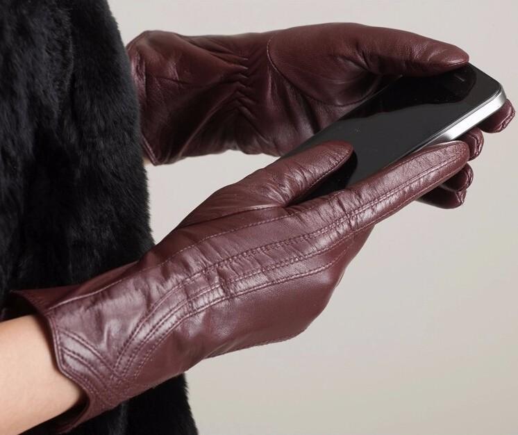High Quality Women Genuine Sheepskin Winter Women Leather Gloves Lady knitting lined Warm Winter Mittens women gloves 15
