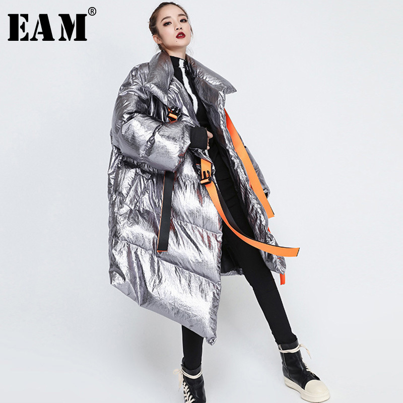 [EAM] 2019 Новинка весны утепленная одежда толстый длинный рукав водолазка воротник нерегулярные для женщин мода прилив длинный пуховик OA887