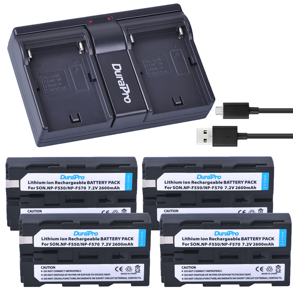 4pc NP-F550 NP-F570 NP F550 F570 Replacement Li-ion Battery + USB Dual Charger for Sony CCD-SC55 CCD-TRV81 DCR-TRV210 MVC-FD81 durapro 4pcs np f970 np f960 npf960 npf970 battery lcd fast dual charger for sony hvr hd1000 v1j ccd trv26e dcr tr8000 plm a55