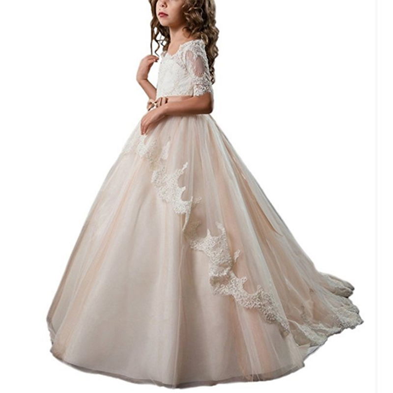 Light Champagne Half Sleeves Lace Flower Girl Dresses Amazing Girl Ball Gown Dress For Wedding Evening Party Birthday 2 3 4 8 12