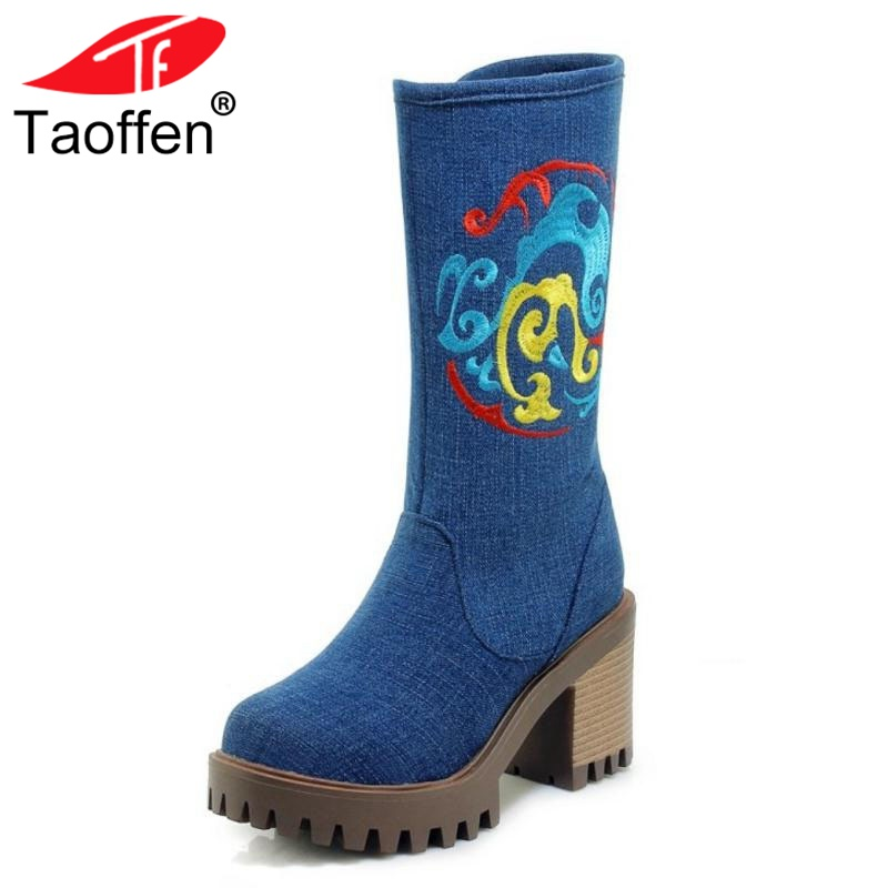 TAOFFEN Women Winter Boots Embroidery Shoes Woman Fur Platform Mid Calf Boots Fashion Winter Boots Woman Footwear Size 34-43 цена