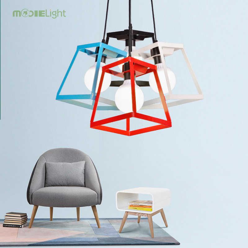 Mooielight תליון אורות נורדי בציר לופט תליון אור עם כיכר מנורת צל מנורות לסלון תאורת E27 85- 260 v