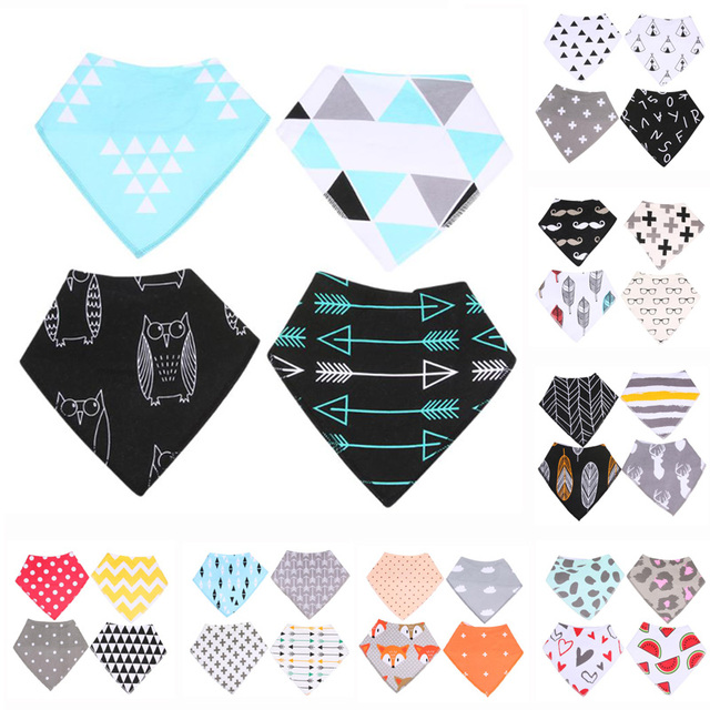 Baby Bandana Triangular Scarf Cotton Towel Slobber Spring/Winter 4Pcs Thickened Drool Bib Gift Set For Baby Boys and Girls