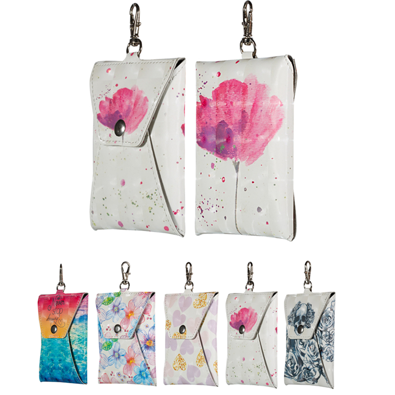 Fashion Girl PU Lrather Case For Card Earphone Data line Key High Waterproof Bag SIM Card Mobile phone headest Package Case
