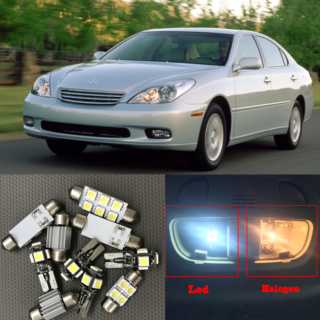12 Pcs Branco Canbus Car Lâmpadas LED Interior Package Kit Para 1998 2003  Lexus ES300
