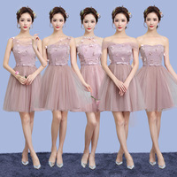 ZX38D Bridesmaids Dress Short New 2017 Spring Summer Cameo Brown Wedding Party Bride Marries A Toast
