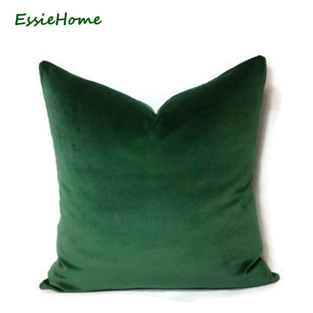 ESSIE Luxus Green Moss Emerald Green Velvet Wald Grün Kissenbezug Kopfkissenbezug Holz Kissen Fall Jägergrün Samt