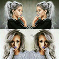 Long Hot Wavy Ombre Gray Rihanna Style Synthetic Lace Front Wig Glueless Ombre Tone Color Black And Grey Heat Resistant Hair Wig
