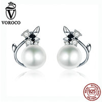 VOROCO Vintage Genuine 925 Sterling Silver Round Shape Pearl Stud Earrings For Women Wedding Engagement Jewelry