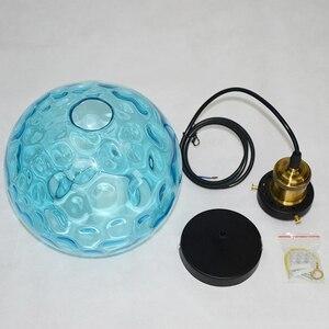 Image 4 - Современный стеклянный подвесной светильник в стиле лофт синего цвета, светодиодный винтажный скандинавский подвесной светильник E27 с 3 размерами для спальни, лобби, ресторана, офиса