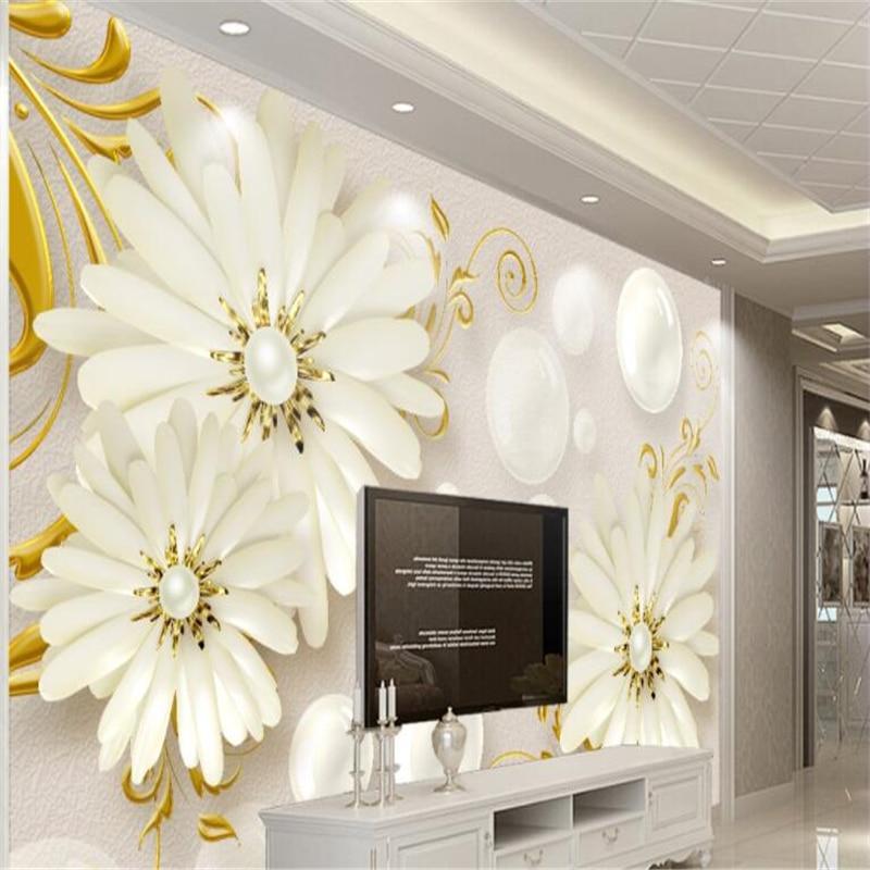 beibehang Custom mural white flowers high-end embossed modern minimalist jewelry decorative painting hotel background wallpaper