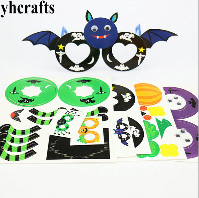 4pcslot4 design choosediy foam halloween glasses craft kitspumpkin