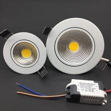 Luz de teto regulável led cob, 5w 7w 9w 12w 85-265v luzes embutidas do teto iluminação interna