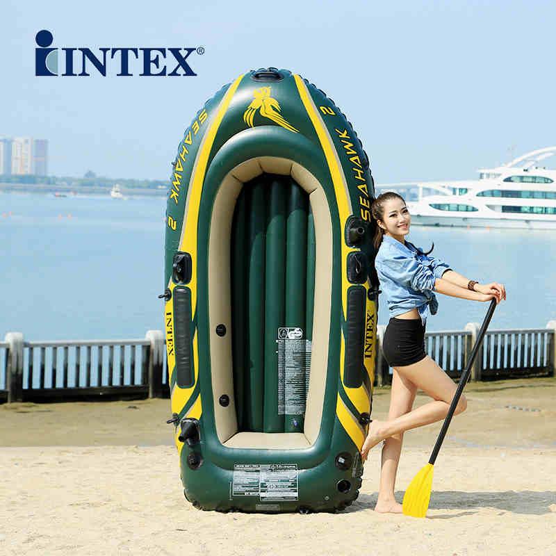 INTEX épaissi 2 personne utiliser bateau gonflable canot de pêche kayak pliant bateau d'assaut