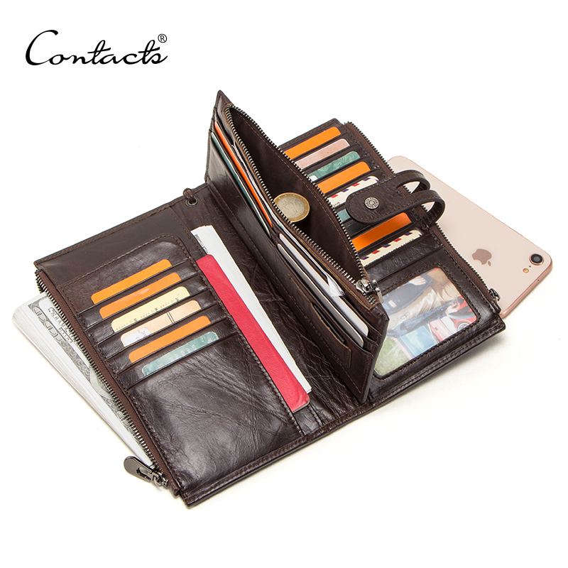 CONTACT S genuine leather men wallet long clutch wallets for cell phone women coin purse travel