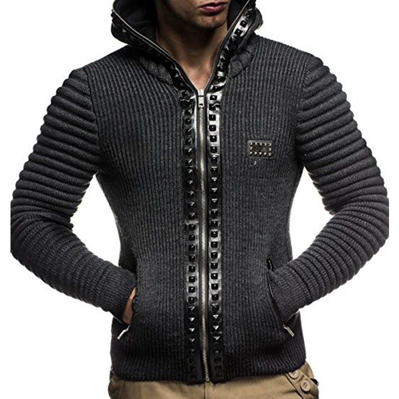 2018 Autumn Fashion Men Hoodies Brand Leisure Men Hoodie Sweatshirts Casual Zipper Hooded Jackets Male Rivet Hoody Moletom Punk