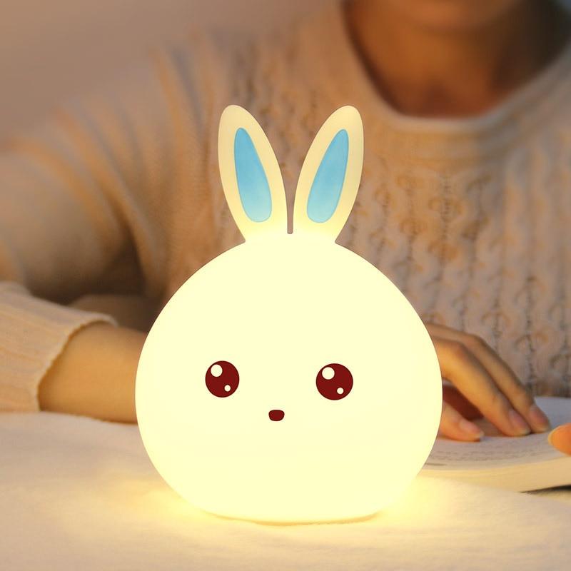 Cute Rabbit LED Silikon USB Ładowanie LED Lampka nocna Sypialnia Lampa stołowa Dzieci Kid Prezenty świąteczne Wedding Party Home Decor