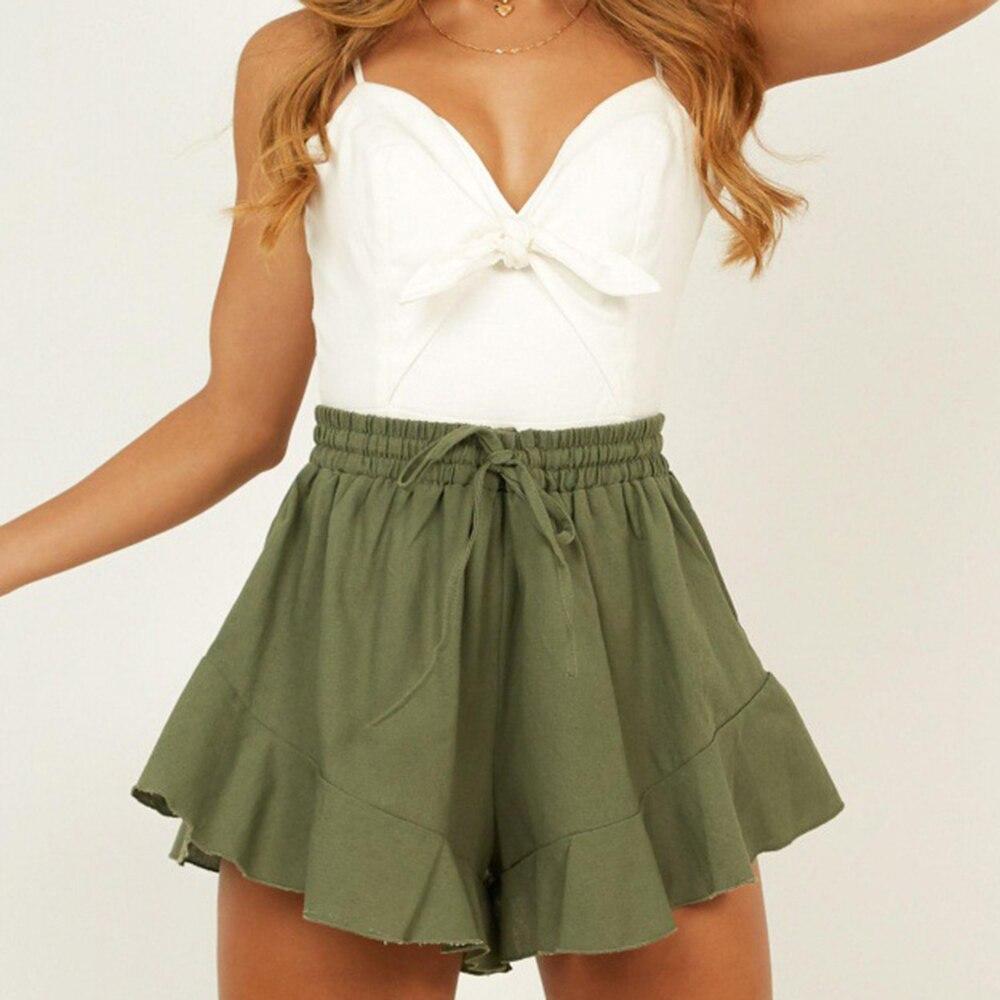 Women Shorts Waist-Fashion Ruffled Cotton Summer Wide-Leg Hem Drawstring Blends