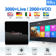 IUDTV IPTV Europe Germany Sweden Spain IP TV Android 7.1 Box Leadcool X 1G+8G S905W Greek 1 Year