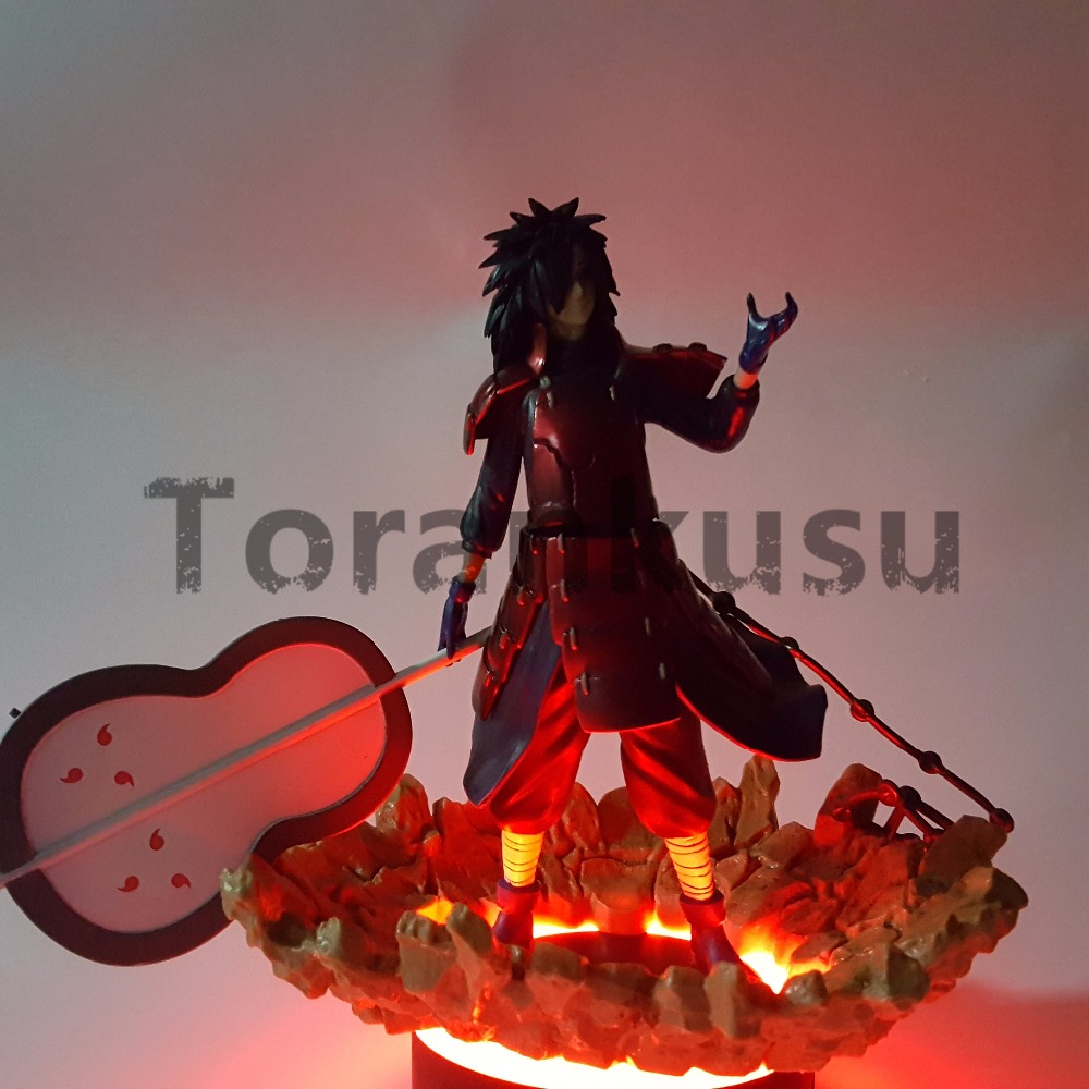 Naruto Action Figure Madara Led Light Rock Base PVC Model Toys Anime Uzumaki Naruto Shippuden Figurine Uchiha Madara anime naruto pvc action figure toys q version naruto figurine full set model collection free shipping