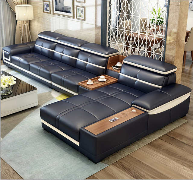 on sale d60f0 b5158 US $1044.05 5% OFF|Living Room Sofa corner sofa sectional real genuine  leather sofas L with storage cup holder muebles de sala moveis para casa-in  ...