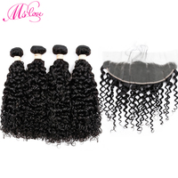 Human Hair Lace Frontal Closure With Bundles Indian Water Wave 3 Bundles Remy Hair Extension Natural