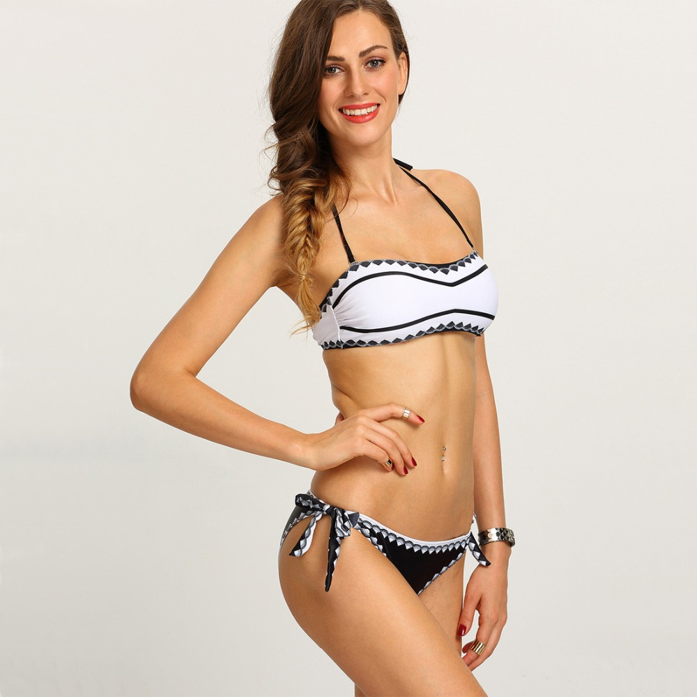 Factory direct marketing! Free shipping! Black and white mosaic Print Bikini marketing