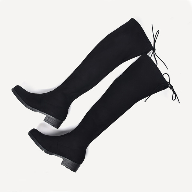 New Women Winter Boots Stretch Slim Over Knee Boots With Fur Black Thigh High Boots Shoes Woman Round Toe Winter Boots Black