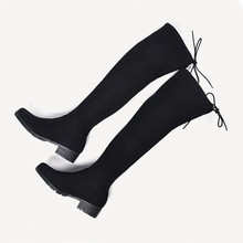 New Women Winter Boots Stretch Slim Over Knee Boots With Plush Black Thigh High Boots Shoes Woman Round Toe Winter Boots Black