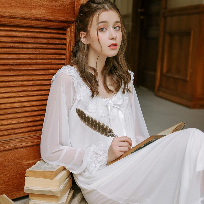 Lace   Nightgowns   &   Sleepshirts   Princess Home Clothing Elegant Sleepwear Robes Women Sleep & Lounge Cotton Fabric Nightdress 2019