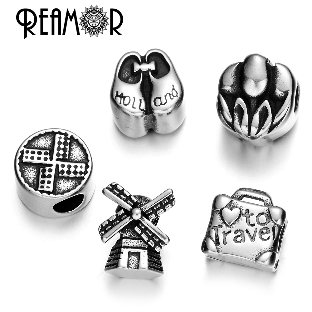 REAMOR Love Travel Holland Series 316l Stainless Steel Holland Windmill Clogs Tulip Beads DIY Women Bracelet Jewelry Making Gift