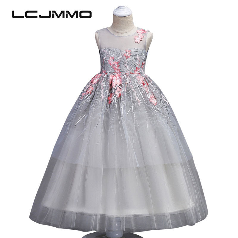 LCJMMO 2018 New Girls Embroidery Dresses For Party And Wedding Perspective Princess Dress Teenager Pageant Girl Ceremonies Dress