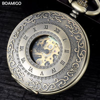 FOB men pocket watches antique mechanical watches BOAMIGO skeleton roman number watches copper design gift clock reloj hombre