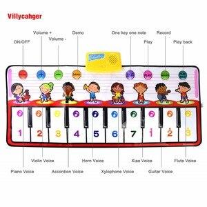 Image 4 - 100x40cm פסנתר צעצועים מוסיקלי לשחק מחצלת עם 8 מכשיר קול & אחד מפתח אחד הערה & לשחק בחזרה פונקצית תינוק לשחק שטיח חג המולד צעצועים