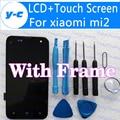 De pantalla para xiaomi mi2 100% nueva pantalla lcd + pantalla táctil con el marco reemplazo para xiaomi 2 m2 2 s teléfono celular en el envío nave