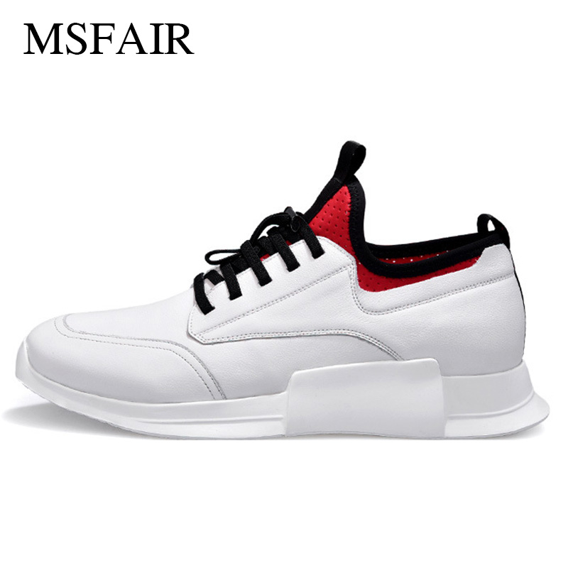Msfair Men Running Shoes Outdoor Athletic Sport Shoes For Men Genuine Leather Black Brand Antiskid and wear-resistant Sneakers fashion genuine leather men shoes wear resistant bottom black sneakers men cool adult casual shoes footwear krasovki zapatillas