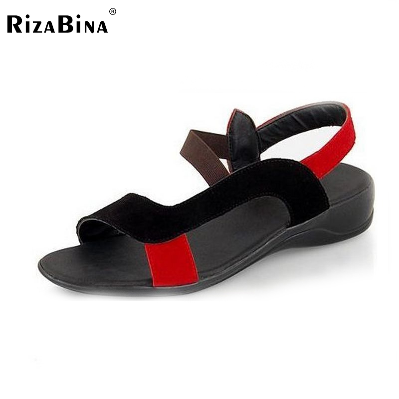RizaBina Free shipping NEW genuine leather fashion sandals women sexy summer shoes casual flat buckle  G103 size 34-40 free shipping candy color women garden shoes breathable women beach shoes hsa21