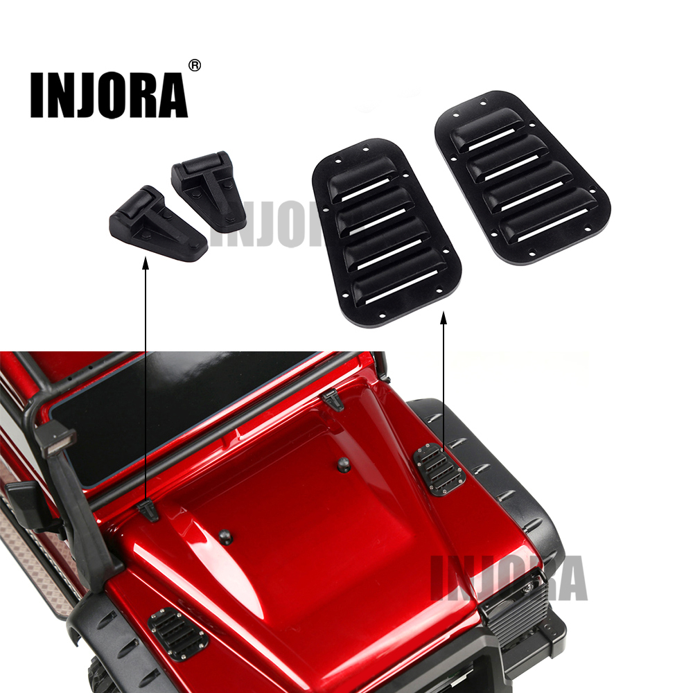 INJORA 1Set TRX4 Black Plastic Intake Grille Cover & Engine Cover Hinge For 1:10 RC Crawler Traxxas TRX-4 Body