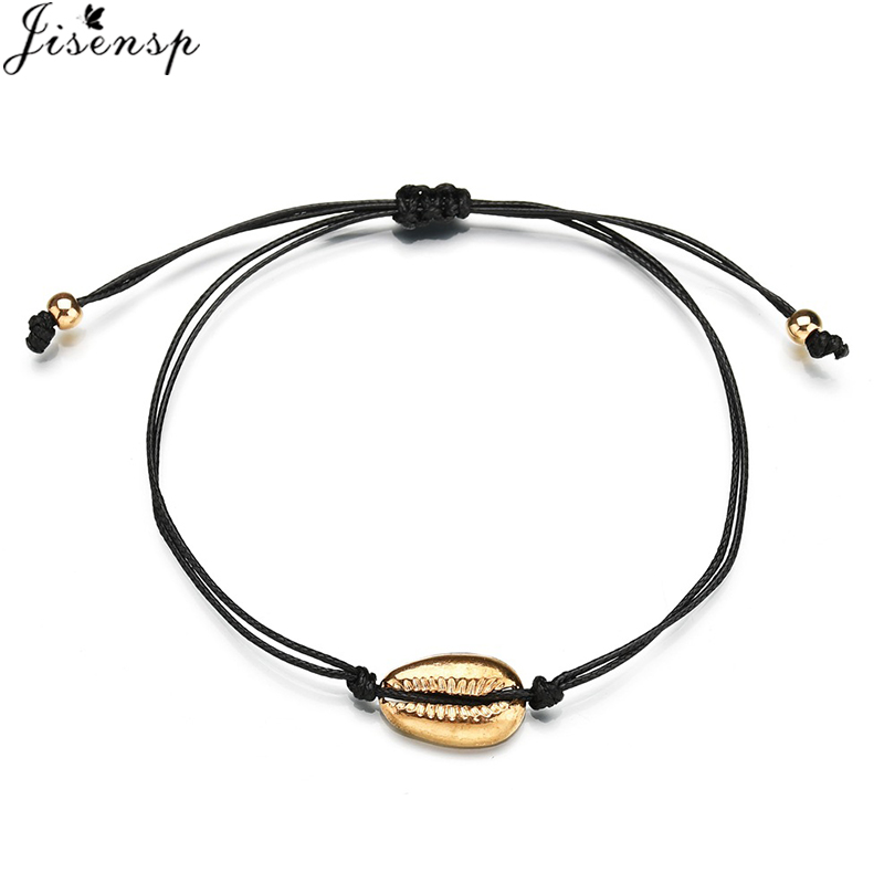 Jisensp Vintage Lucky Adjustable Wishing Bracelets for Women Kids Simple Fashion Beach Shell Bracelet Best Gift Jewelry image