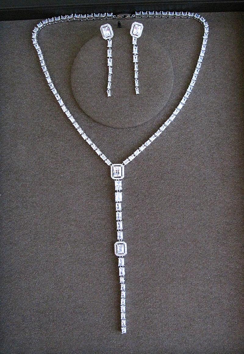Vente chaude De Mode AAA cubique zirconiaClassic carré pierre long épi Collier et boucles d'oreilles ensemble de bijoux, S1029