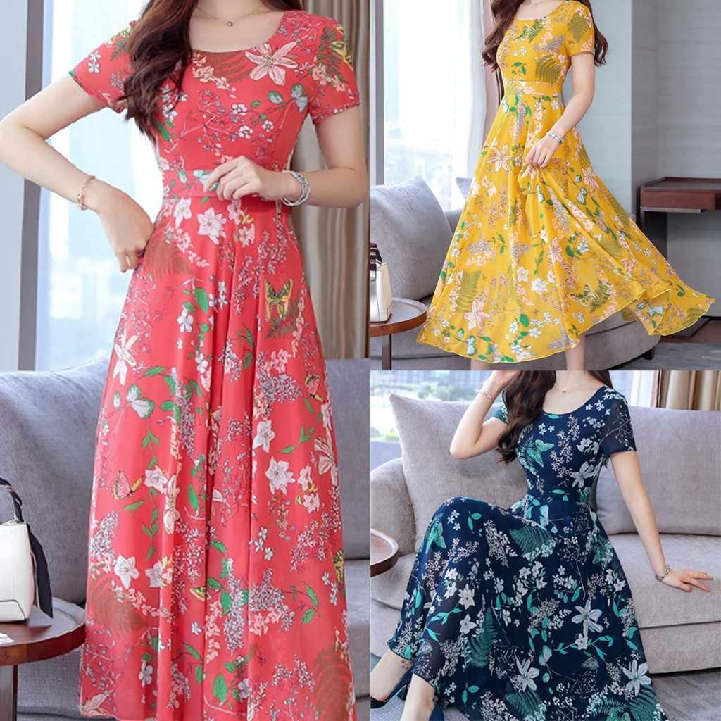 Maxi długa lato 2019 sukienka z czeski styl kwiatowy Print na plaży na co dzień z krótkim rękawem sukienka Party sukienki Plus rozmiar
