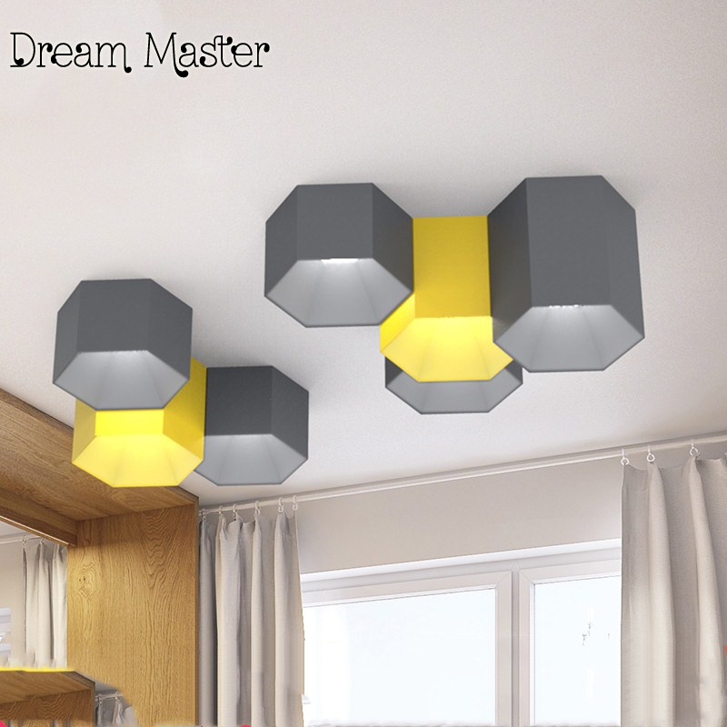 The Nordic minimalist modern geometry six angle ceiling lamps living room bedroom LED Macarons candy colored ceiling lamps vemma acrylic minimalist modern led ceiling lamps kitchen bathroom bedroom balcony corridor lamp lighting study